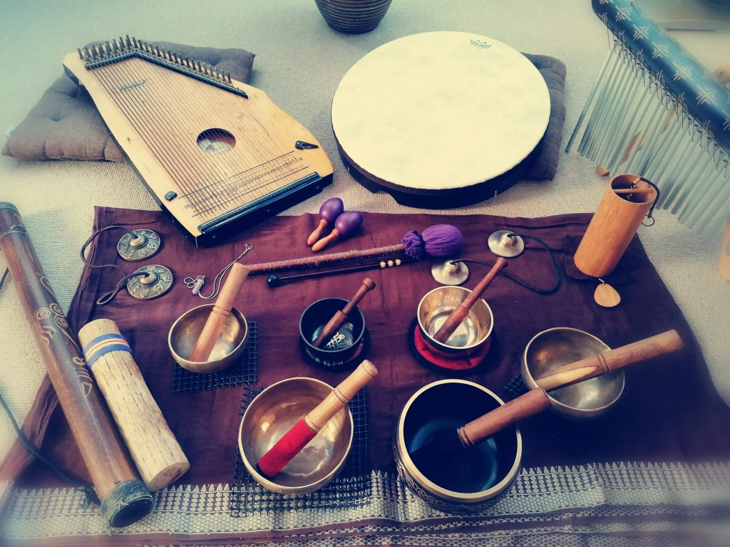 A variety of therapeutic sound instruments